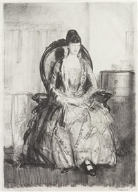 lady with a fan (emma in a chair) by george wesley bellows