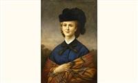 portrait d'une élégante au chapeau et châle by marie-alexandre (menut) alophe