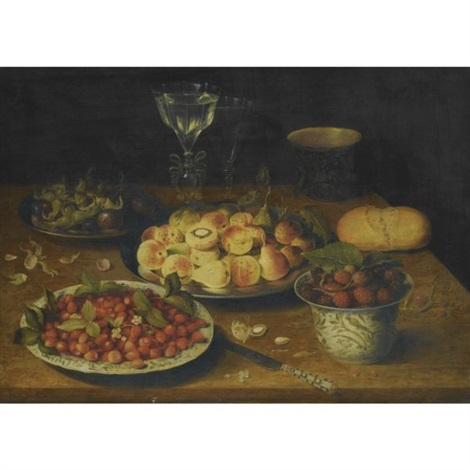 a still life of peaches and plums on a pewter dish hazelnuts and plums on another wild strawberries on a chinese porcelain plate mulberries in a chinese porcelain bowl façon de venise wine glasses by osias beert the elder