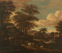 landskap med figurer och boskap by pieter jansz van asch