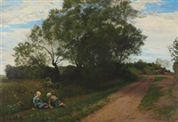 landscape with children playing by ludvig kabell