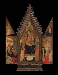 the madonna and child enthroned with saints (+ 2 others; triptych) by niccolò di tommaso