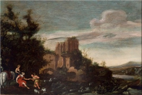 the huntress diana with handmaiden and shepherd with ruins in the background by cornelis van poelenburgh