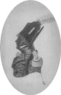 charlie grant, profile to the left, in blue uniform with red piping and standing collar by john buncombe