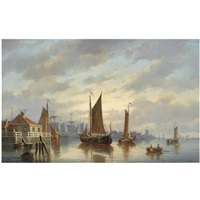 a dutch harbour at sunset by johannes hilverdink