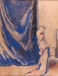 élégante au rideau bleu by etienne drian