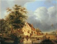 landschaft mit bauernhaus und weiher by pieter hofman