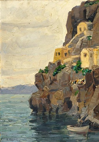 view of the old port of fira in santorini by vasilis germenis