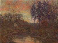 twilight river scene by william merritt post