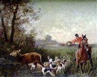 scène de chasse à courre by jean victor albert de gesne