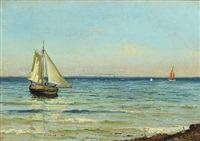 boats at sea a sunny summer's day by carl ludvig thilson locher
