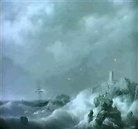 shipwrecked in a storm off a rocky coastline by johannes koekkoek