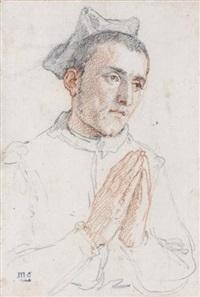 portrait d'ecclésiastique les mains jointes en prière by federico zuccaro