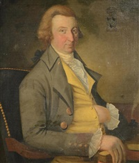 half length portrait of gentleman with a gold vest by american school (18)