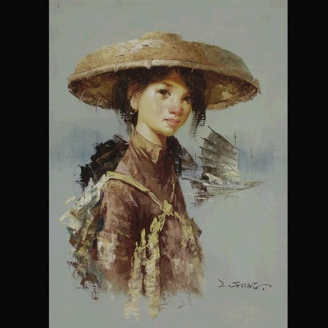 young woman with junk boat by lee man fong