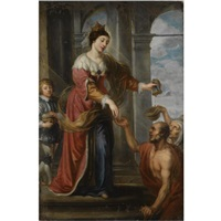 a female saint giving alms, saint elizabeth of hungary (?) by philip fruytiers