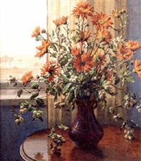 flowers in a vase on a table with a view to a winter landscape beyond by wilhelm andersen