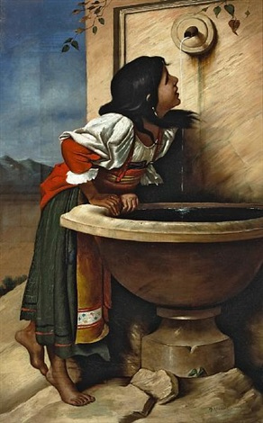 roman girl at a fountain after léon joseph florentin bonnat by henry alexander