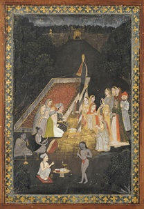 ladies visiting holy men at night by mir kalan khan