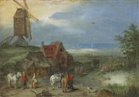landscape with a windmill, figures and horses by a farmstead by jan brueghel the elder