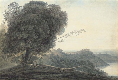 castel gondolfo the lake of albano italy by john robert cozens