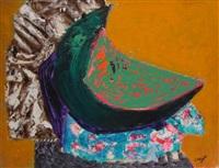 nature morte à la pastèque verte by bernard lorjou