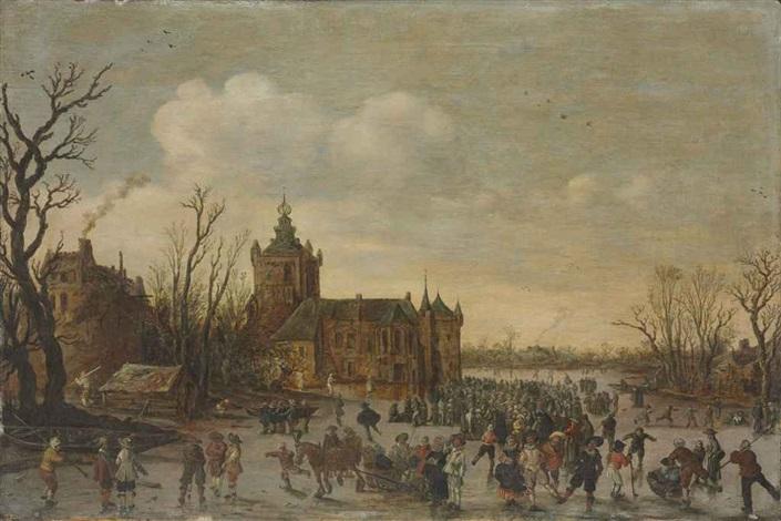 a winter landscape with figures skating in front of monfoort castle by jan josefsz van goyen