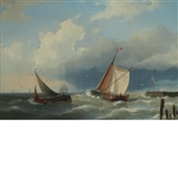 sailing vessels off pier, holland by hermanus koekkoek the younger