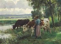 les vaches a l'abreuvoir by julien dupré