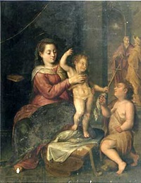 vierge à l'enfant avec le petit saint jean-baptiste by marten pepyn
