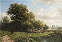 landscape with a figure on a path by adrianus van everdingen