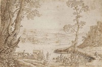 an extensive river landscape with the baptism of the eunuch by hendrik hondius the elder