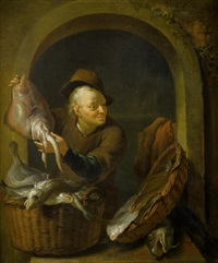 a fish seller, within a painted stone niche by louis de moni