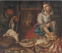 a kitchen interior with a maid preparing poultry and fish and a gamesman carrying a dead birds by jeremias van winghe