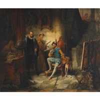 galileo instructing the artist lodovico cigoli painting in a scientific laboratory by edouard ender
