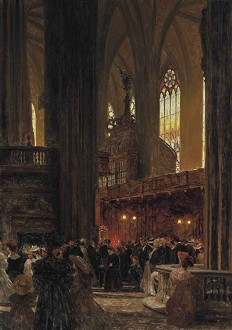 at the end of a sunday service st stephens cathedral vienna by heinrich tomec