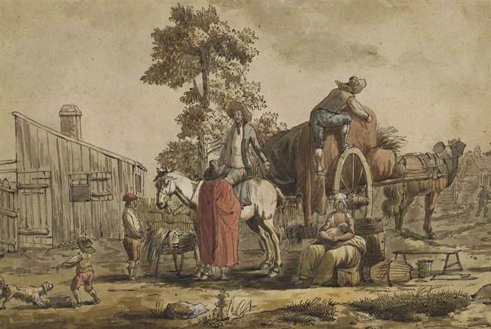 une mère et ses enfants devant le chargement dune charrette by jacques françois joseph swebach desfontaines