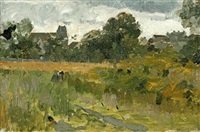 landscape with houses by theodore robinson