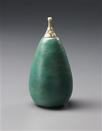 pear-shaped bottle with carved stopper by henri simmen and eugenie o'kin