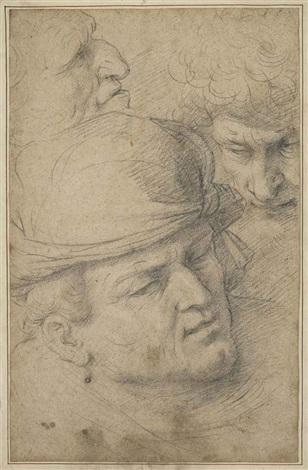 the heads of three men by italian school-northern (17)