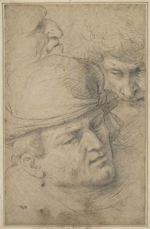 the heads of three men by italian school northern 17