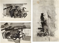 untitled (set of 3 works) by nasreen mohamedi