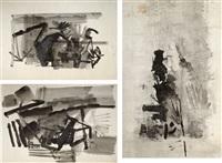 untitled (set of 3 works) by nasreen mohamedi
