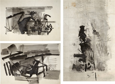 untitled set of 3 works by nasreen mohamedi