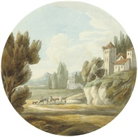 an extensive landscape with a castle and drovers, italy by francis towne