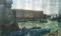 bateaux de pêche au port by louis robert antral