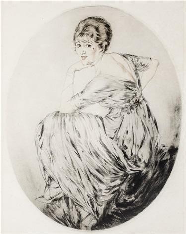 lady (gaby deslys) looking over her shoulder by etienne drian