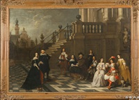 l'heure du concert dans la cour du palais by jacob oost the elder