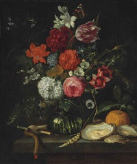 a tulip, roses, apple blossoms, cornflowers and other flowers in a glass vase on a stone ledge, with a pipe, taper, oysters and an orange... by jan davidsz de heem