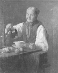 alte bäuerin bei einer mahlzeit by eduard pfyffer